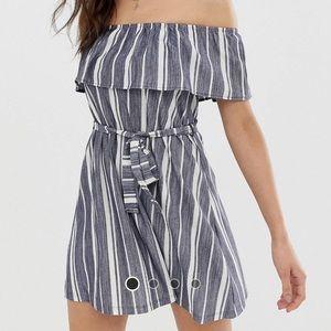 ASOS Dresses - Asos striped Bardot style dress with tie belt